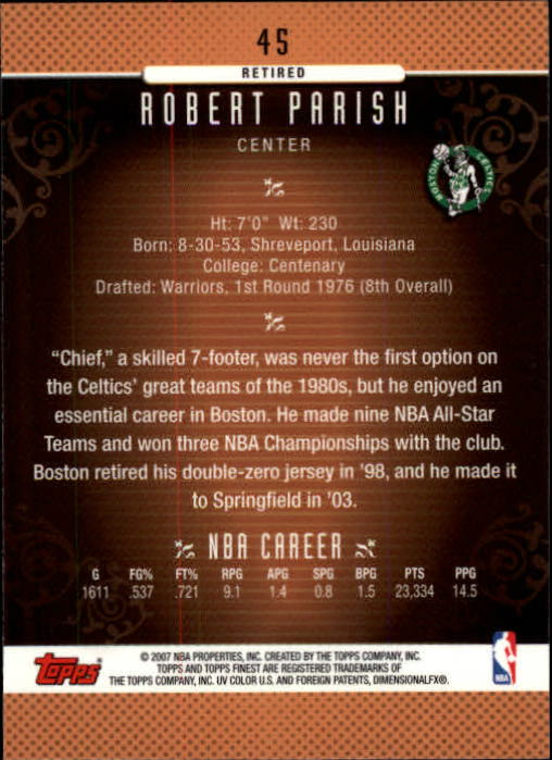 2006-07 Finest #45 Robert Parish back image