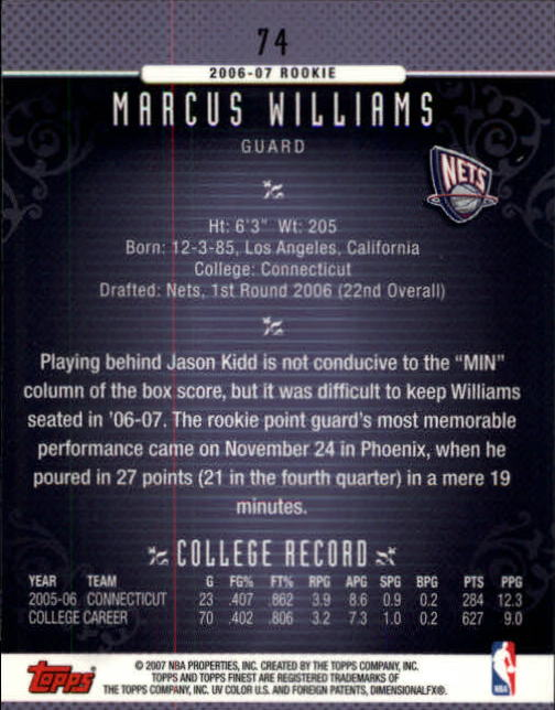2006-07 Finest #74 Marcus Williams RC back image