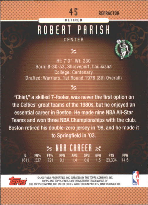 2006-07 Finest Refractors #45 Robert Parish back image