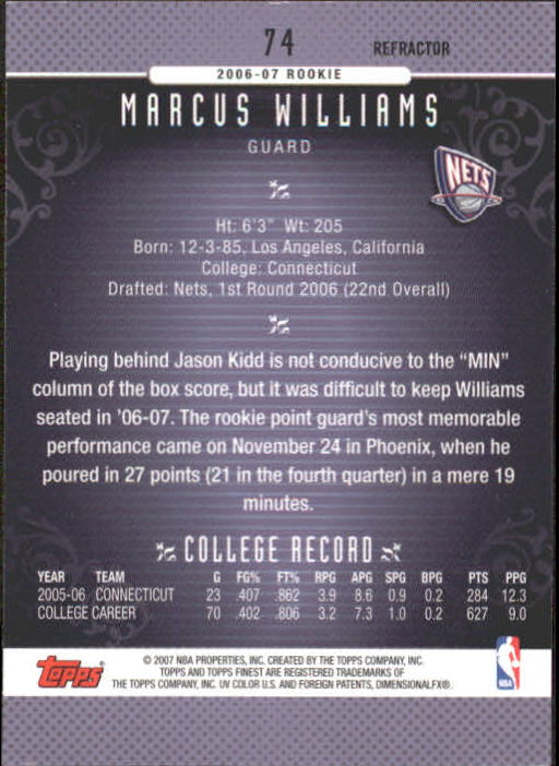 2006-07 Finest Refractors #74 Marcus Williams