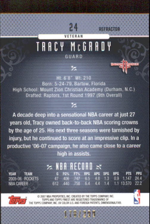 2006-07 Finest Refractors Blue #24 Tracy McGrady back image