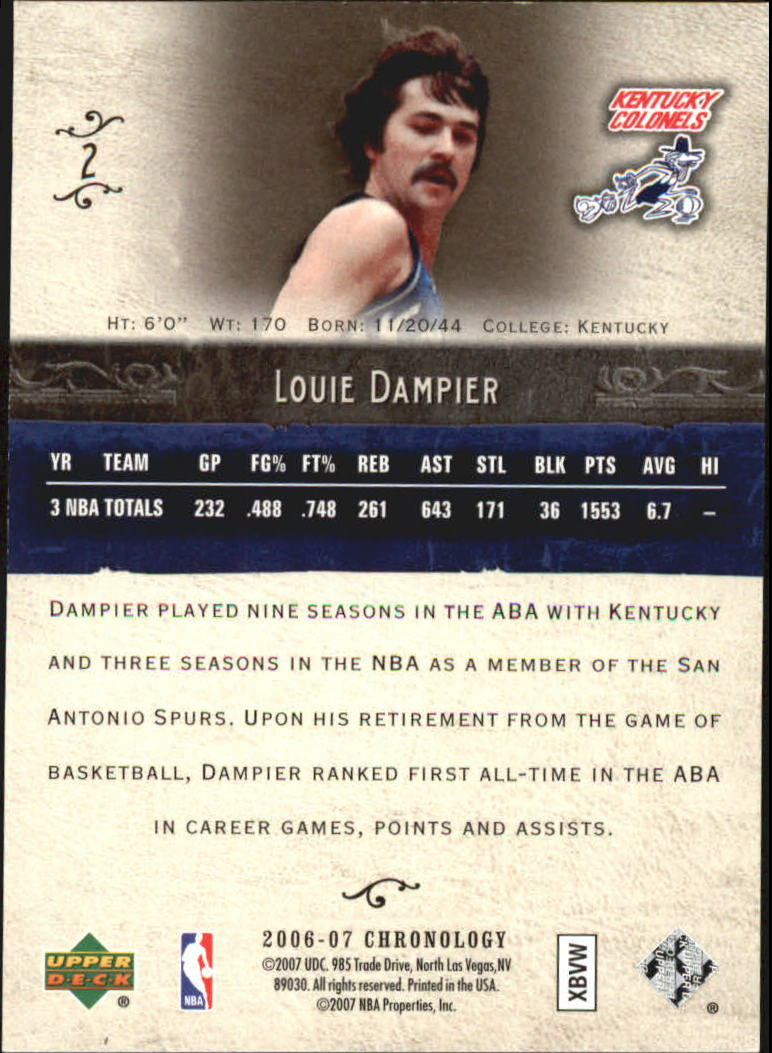 2006-07 Chronology #2 Louie Dampier back image