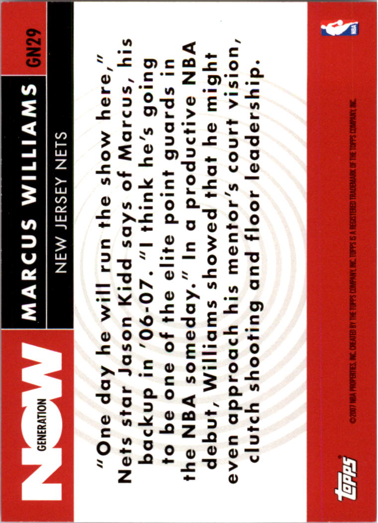 2007-08 Topps Generation Now #GN29 Marcus Williams