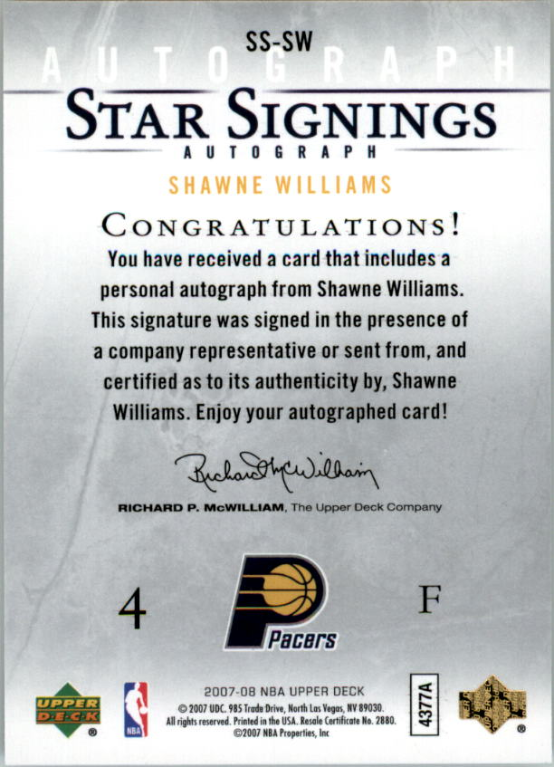 2007-08 Upper Deck Star Signings #SW Shawne Williams back image
