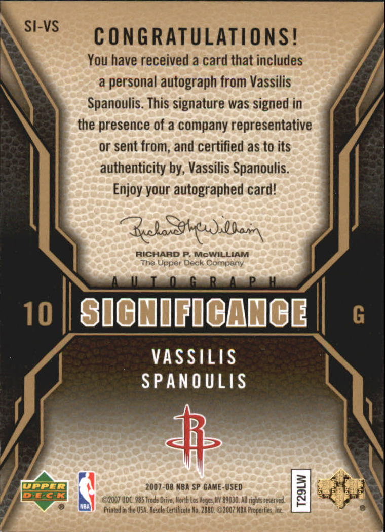 2007-08 SP Game Used SIGnificance #SIVS Vassilis Spanoulis
