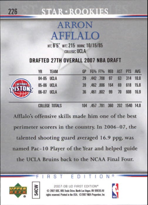 2007-08 Upper Deck First Edition #226 Arron Afflalo RC back image