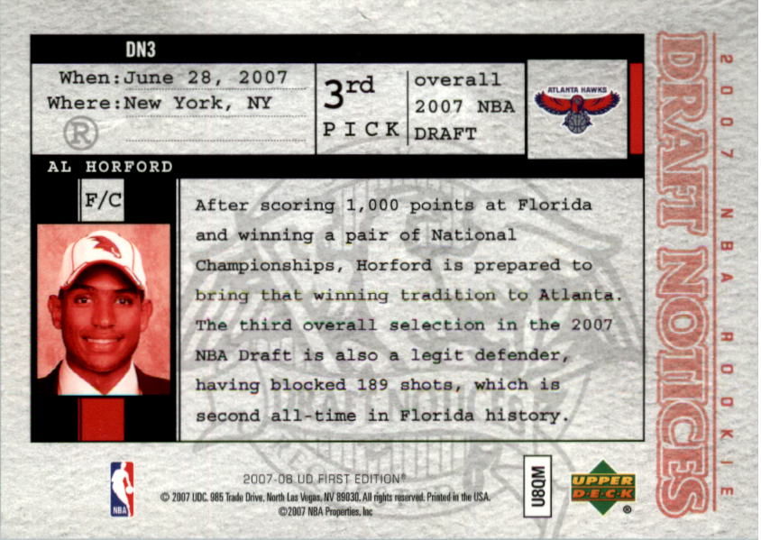 2007-08 Upper Deck First Edition Draft Notices #DN3 Al Horford back image