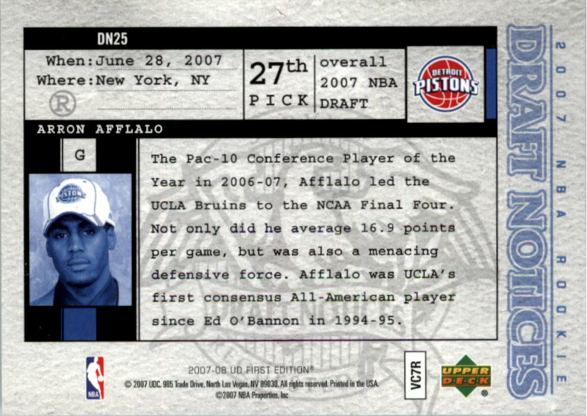 2007-08 Upper Deck First Edition Draft Notices #DN25 Arron Afflalo back image