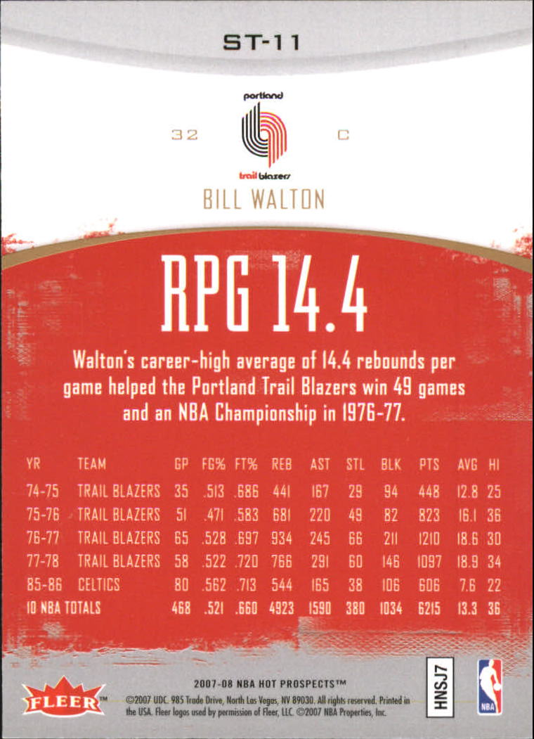 2007-08 Fleer Hot Prospects Stat Tracker #11 Bill Walton back image
