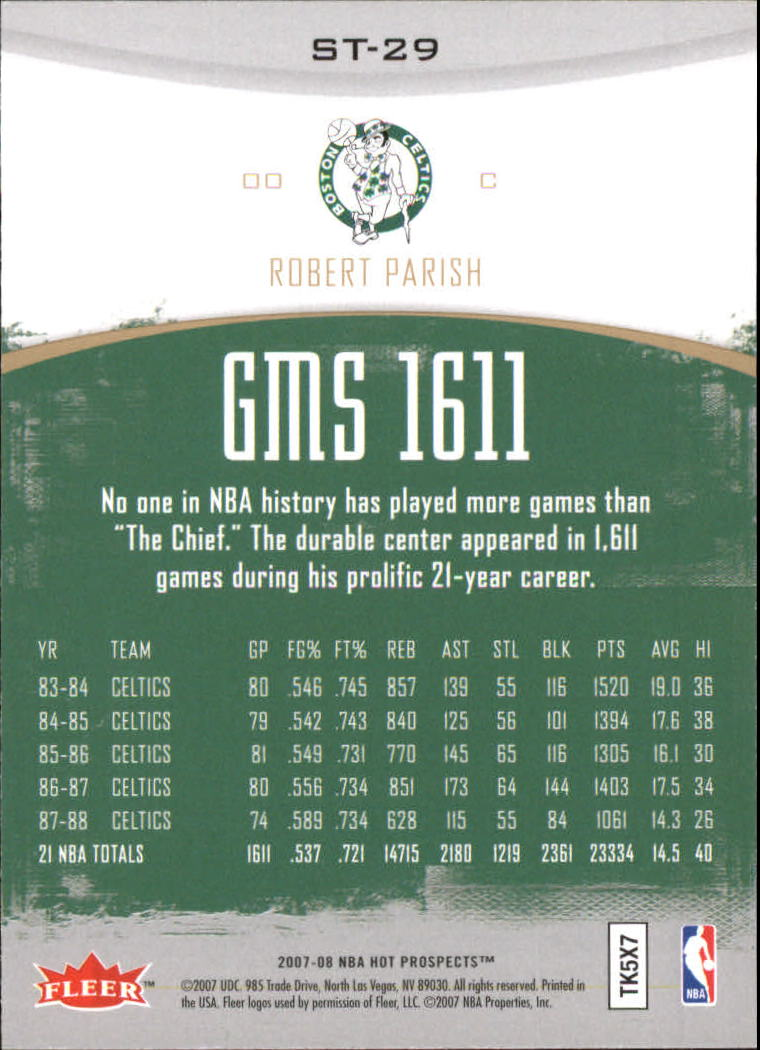 2007-08 Fleer Hot Prospects Stat Tracker #29 Robert Parish back image