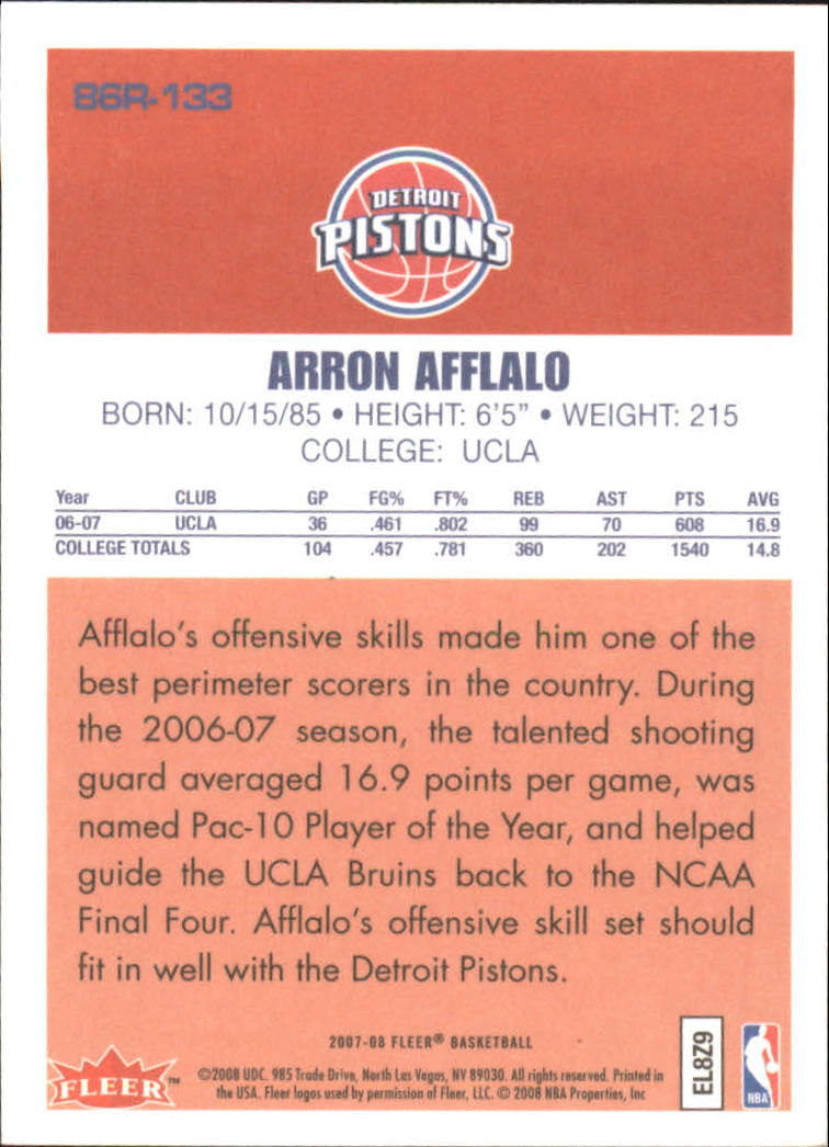 2007-08 Fleer 1986-87 Rookies #133 Arron Afflalo back image