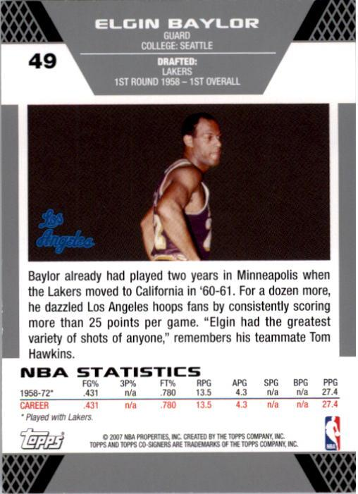 2007-08 Topps Co-Signers #49 Elgin Baylor back image