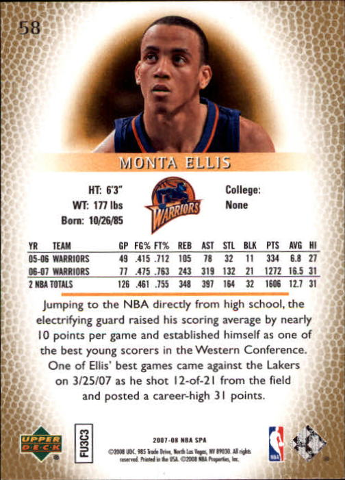 2007-08 SP Authentic #58 Monta Ellis back image
