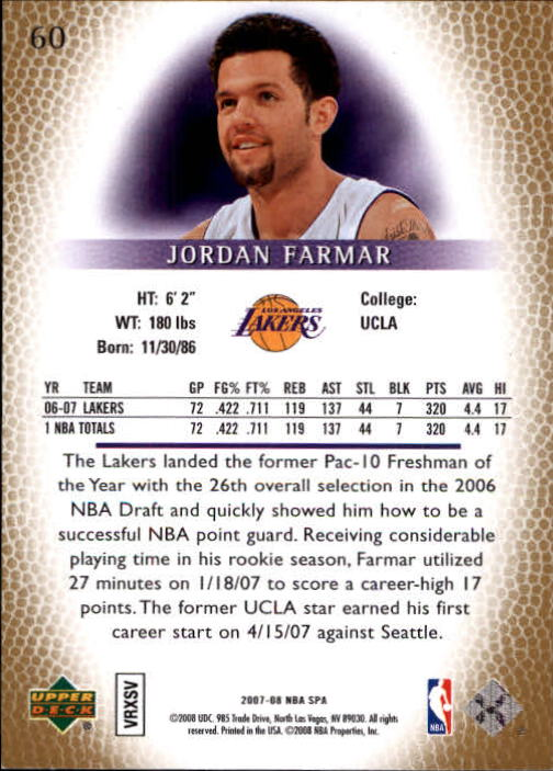 2007-08 SP Authentic #60 Jordan Farmar back image
