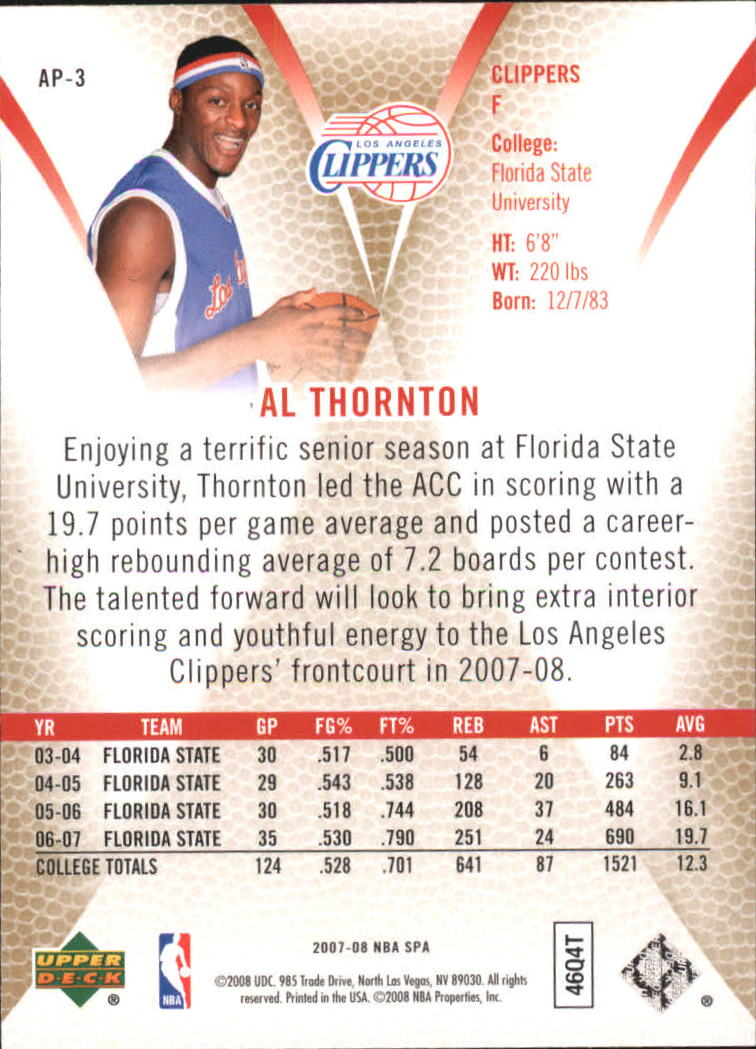 2007-08 SP Authentic Profiles #AP3 Al Thornton back image