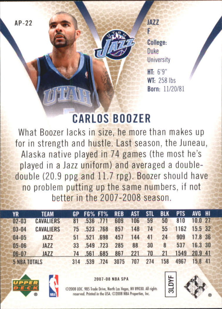 2007-08 SP Authentic Profiles #AP22 Carlos Boozer back image