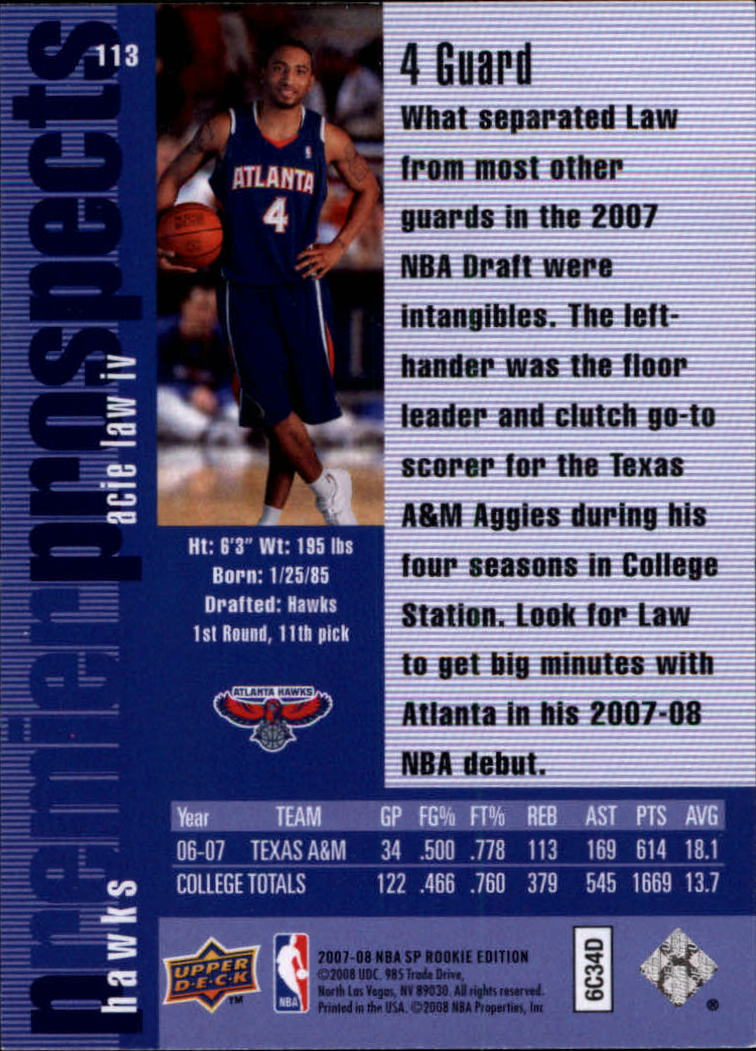 2007-08 SP Rookie Edition #113 Acie Law 96-97