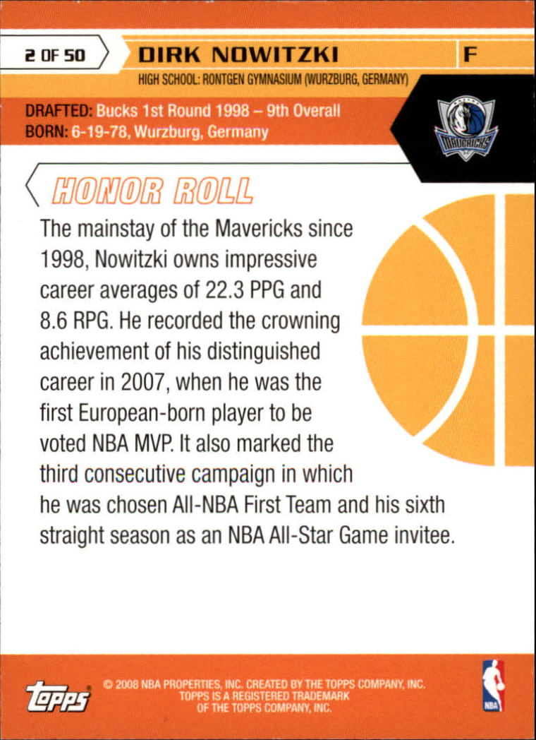 2007-08 Topps 50th Anniversary #2 Dirk Nowitzki back image
