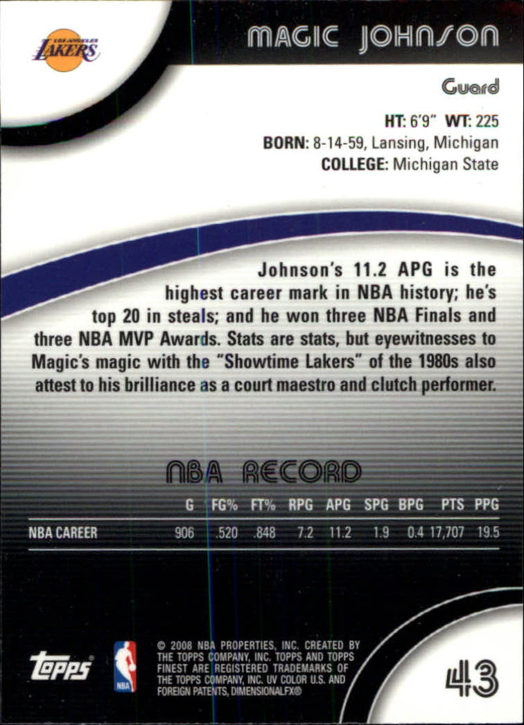 2007-08 Finest #43 Magic Johnson back image