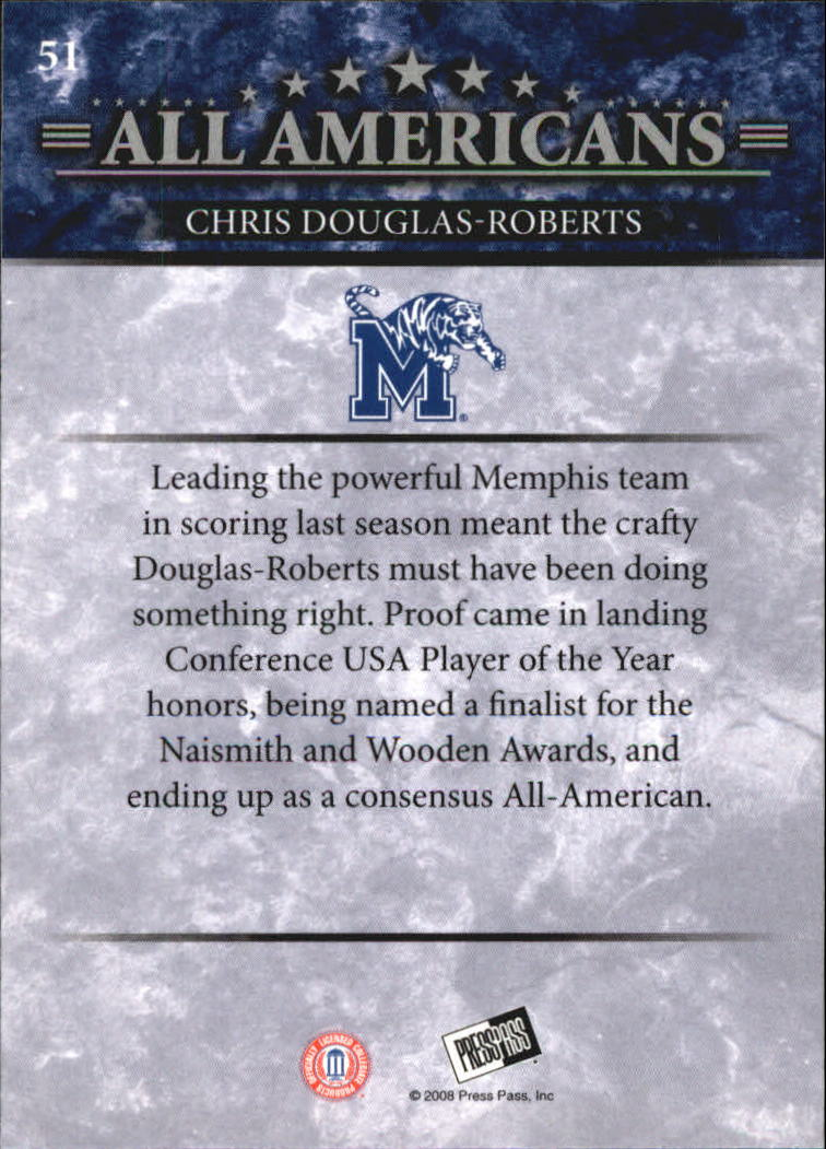 2008 Press Pass #51 Chris Douglas-Roberts AA back image