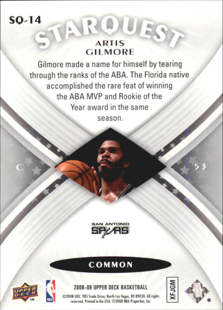 2008-09 Upper Deck Starquest #SQ14 Artis Gilmore back image