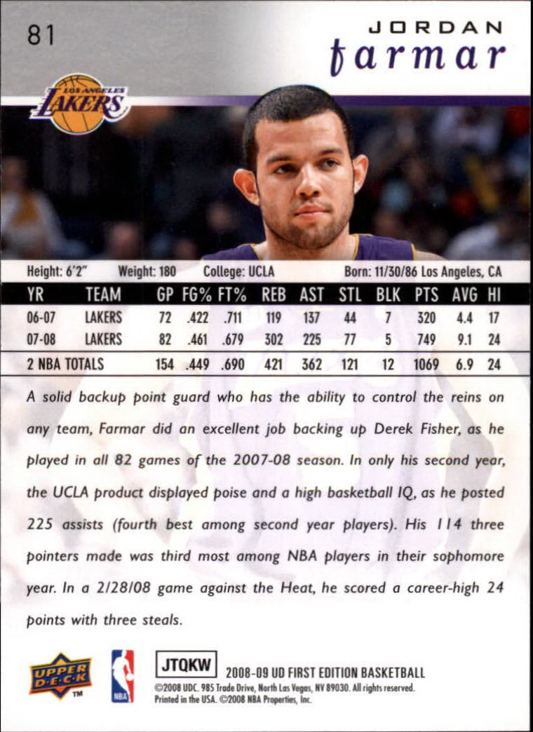 2008-09 Upper Deck First Edition #81 Jordan Farmar back image