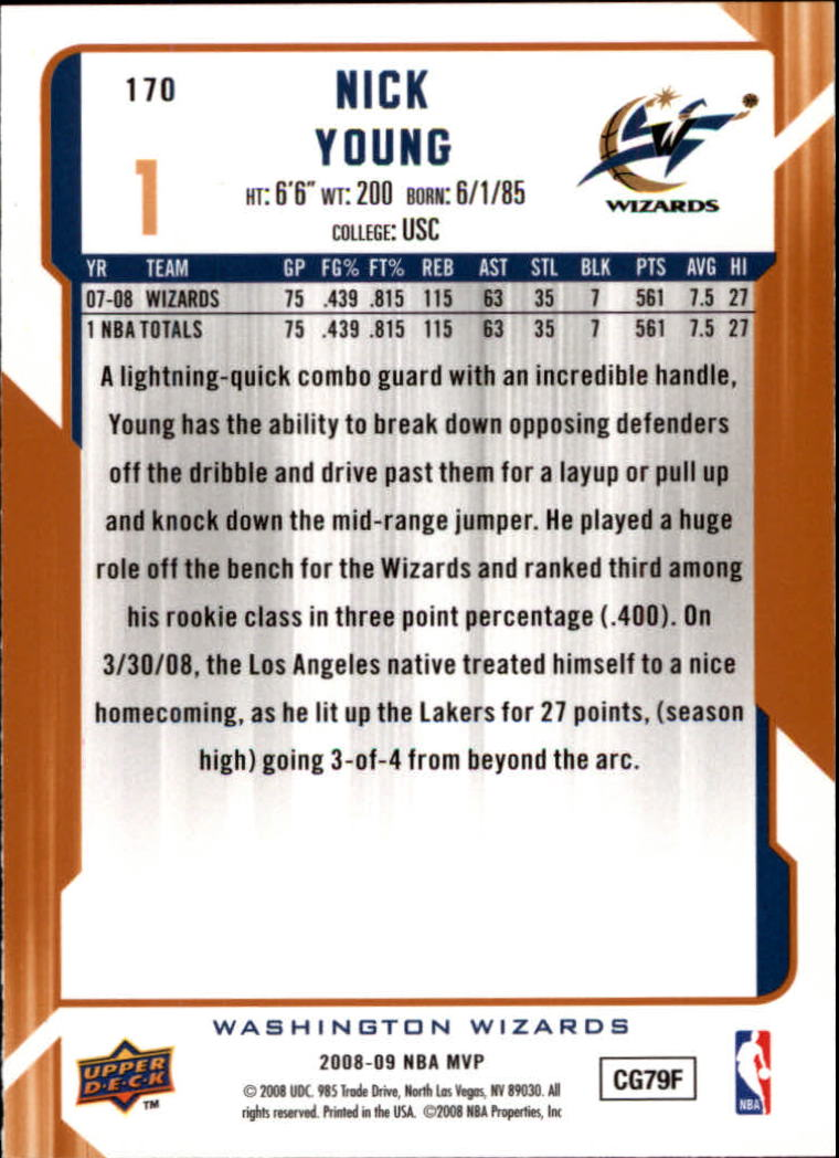 2008-09 Upper Deck MVP #170 Nick Young back image