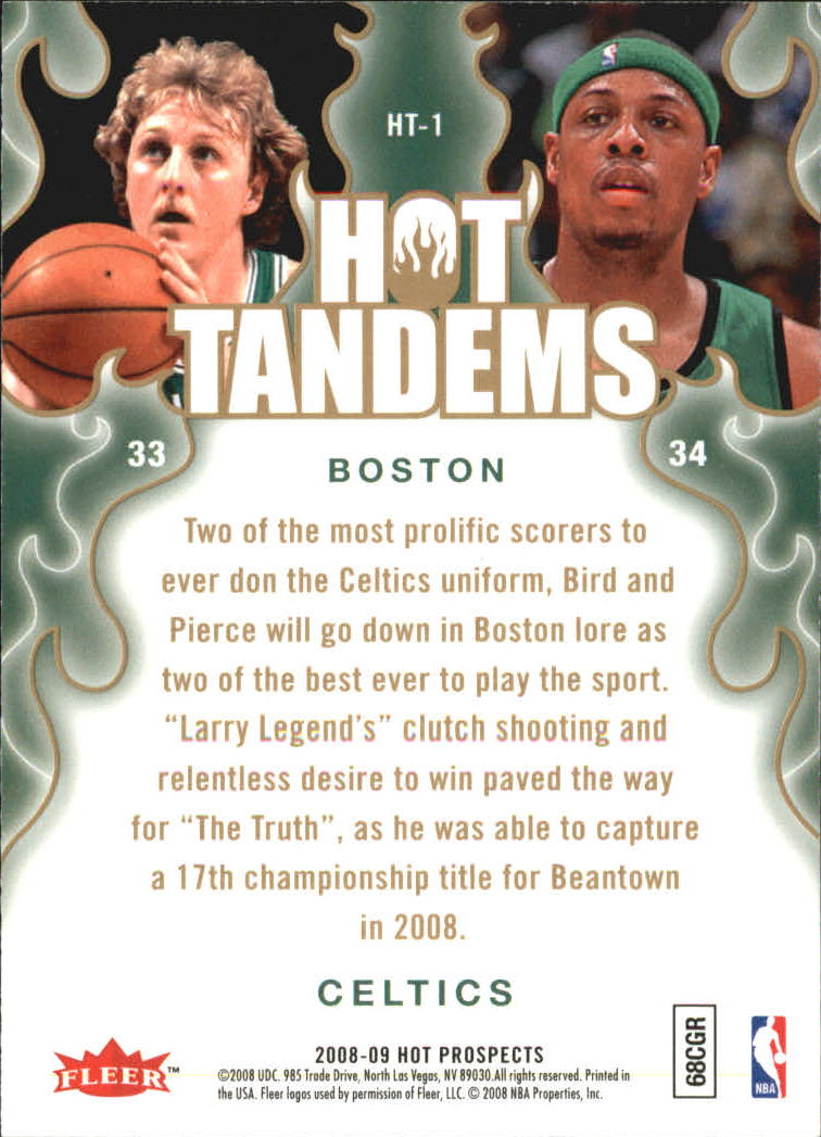 2008-09 Hot Prospects Hot Tandems #HT1 Larry Bird/Paul Pierce back image