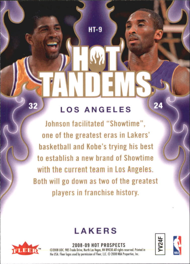 2008-09 Hot Prospects Hot Tandems #HT9 Magic Johnson/Kobe Bryant back image