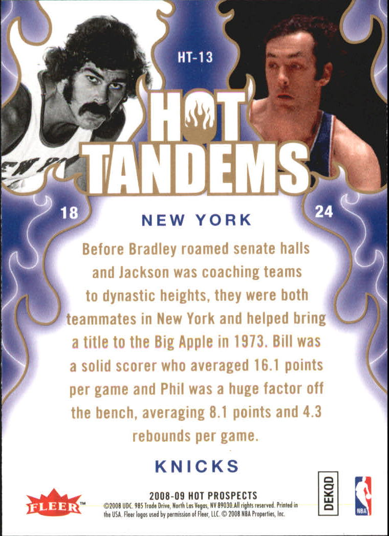 2008-09 Hot Prospects Hot Tandems #HT13 Phil Jackson/Bill Bradley back image