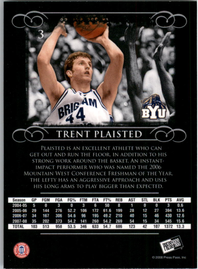 2008-09 Press Pass Legends #3 Trent Plaisted back image