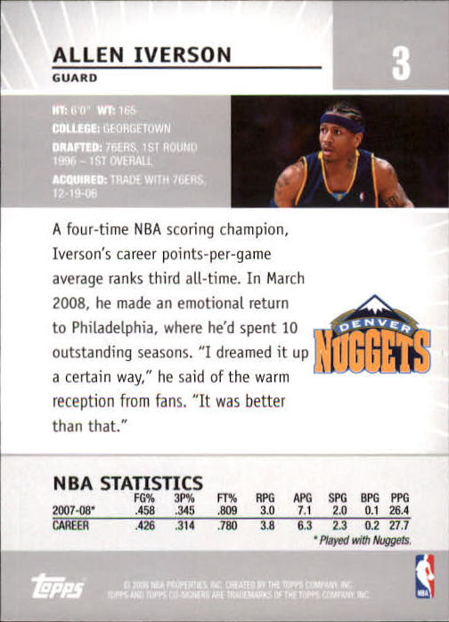 2008-09 Topps Co-Signers #3 Allen Iverson back image