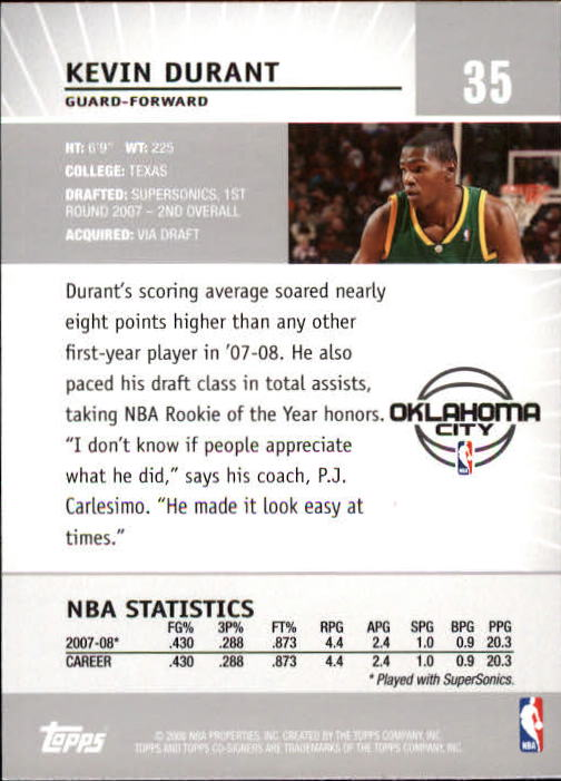 2008-09 Topps Co-Signers #35 Kevin Durant back image