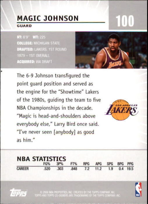 2008-09 Topps Co-Signers #100 Magic Johnson back image