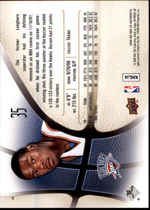 2008-09 SP Authentic #4 Kevin Durant back image