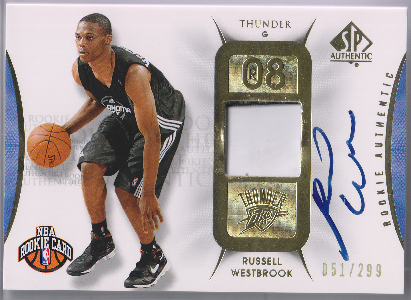 2008-09 SP Authentic #139 Russell Westbrook JSY AU/299 RC