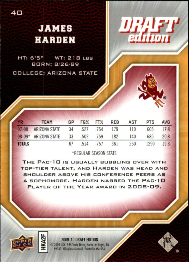 2009-10 Upper Deck Draft Edition #40 James Harden back image