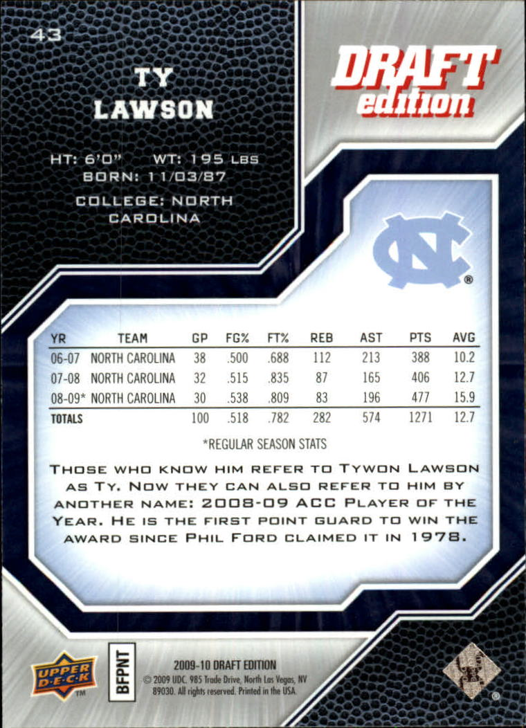 2009-10 Upper Deck Draft Edition #43 Ty Lawson SP back image
