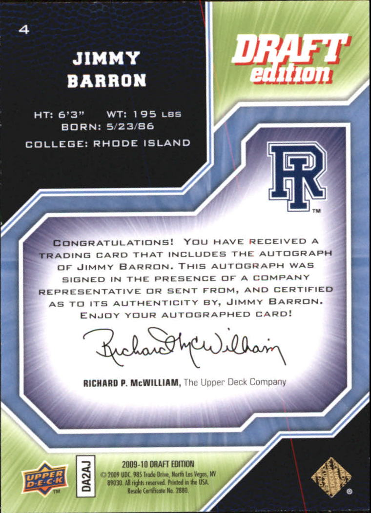 2009-10 Upper Deck Draft Edition Autographs Green #4 Jimmy Baron/249 back image