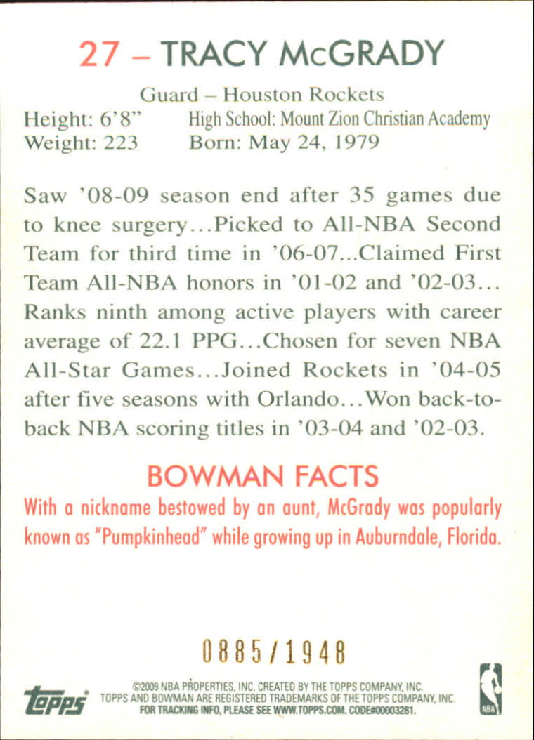 2009-10 Bowman 48 Blue #27 Tracy McGrady back image