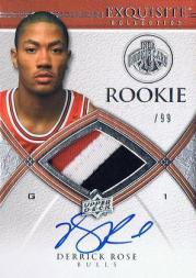 2008-09 Exquisite Collection #92 Derrick Rose JSY AU/99 RC
