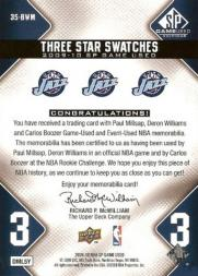 2009-10 SP Game Used 3 Star Swatches #3SBWM Paul Millsap/Deron Williams/Carlos Boozer back image
