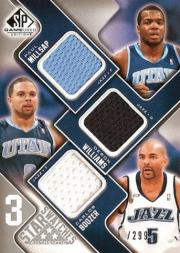 2009-10 SP Game Used 3 Star Swatches #3SBWM Paul Millsap/Deron Williams/Carlos Boozer