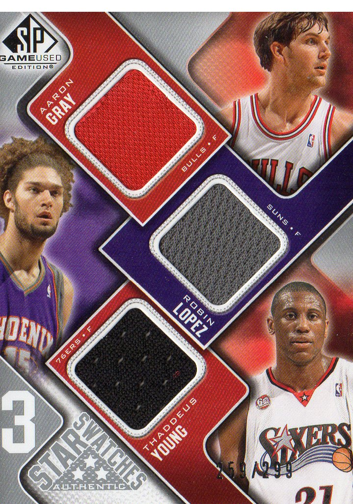 2009-10 SP Game Used 3 Star Swatches #3SGYL Robin Lopez/Aaron Gray/Thaddeus Young