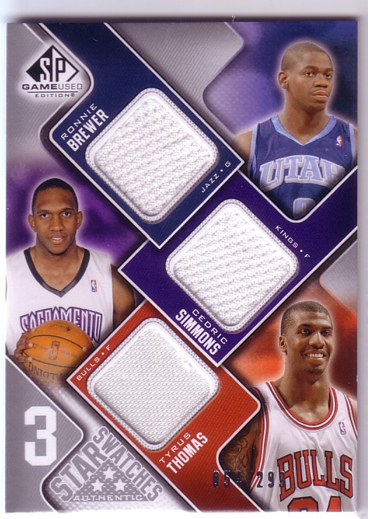 2009-10 SP Game Used 3 Star Swatches #3STBS Tyrus Thomas/Ronnie Brewer/Cedric Simmons