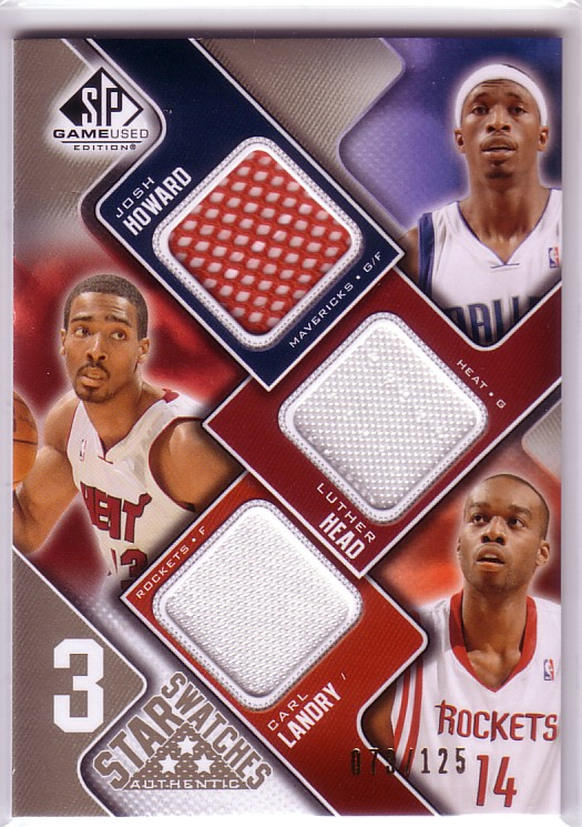 2009-10 SP Game Used 3 Star Swatches 125 #3SHHL Luther Head/Carl Landry/Josh Howard