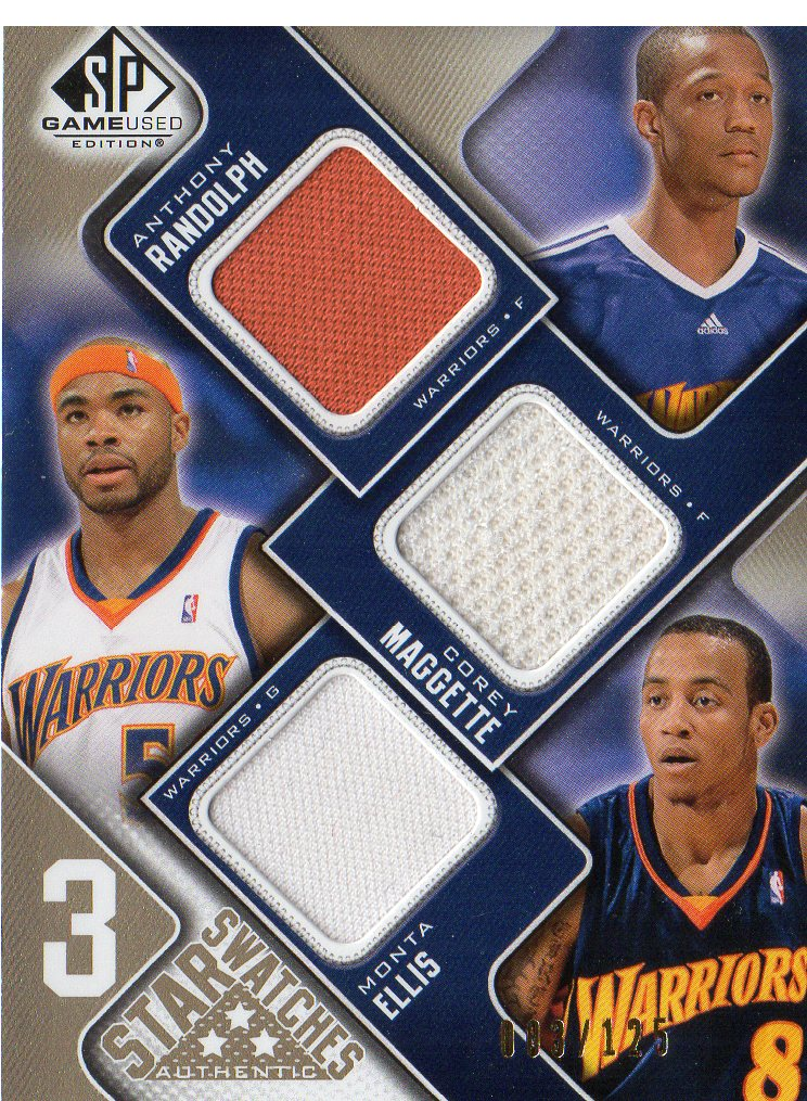 2009-10 SP Game Used 3 Star Swatches 125 #3SMER Corey Maggette/Monta Ellis/Anthony Randolph