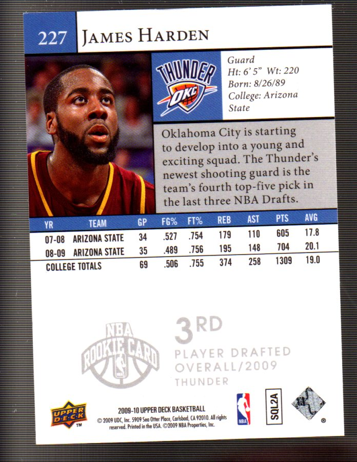 2009-10 Upper Deck #227 James Harden SP RC back image