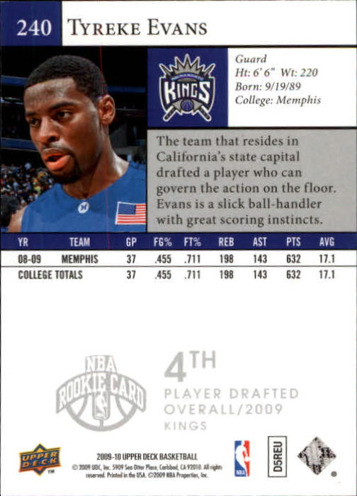 2009-10 Upper Deck #240 Tyreke Evans SP RC back image