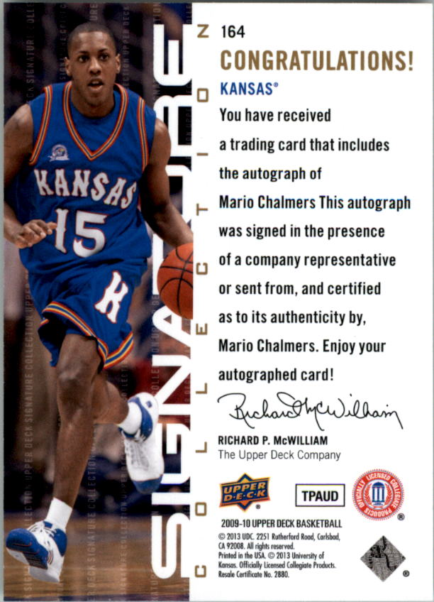 2009-10 Upper Deck Signature Collection #164 Mario Chalmers